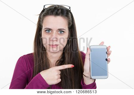 Cheerful Cute Woman Pointing Finger On Smartphone Screen Isolated