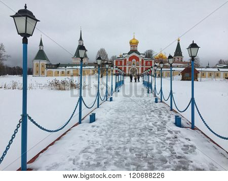 Winter view of Valday-Iverskiy Monastery of Novgorodskaya Oblast, Russia