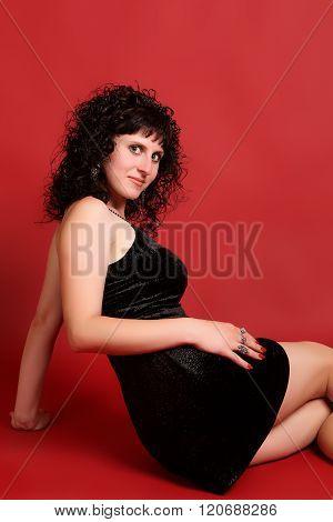 Brunette In An Elegant Dress