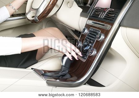 Woman Hand Holding Gearshift