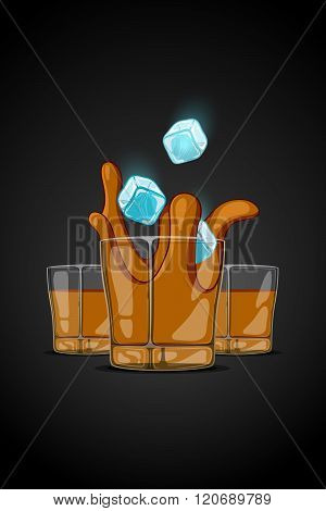 Vector Cartoon Illustration Drawn Glass With Alcohol Drink. Ice Cubes Falling And Splash Liquid
