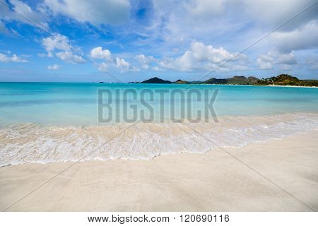 Idyllic tropical beach on Barbuda island in Caribbean with white sand, turquoise ocean water and blue sky