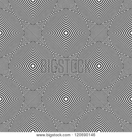 Seamless op art geometric pattern. Vector art.