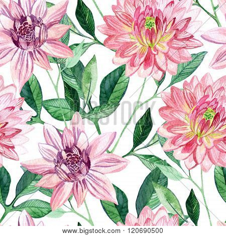 Watercolor Aster Seamless Pattern