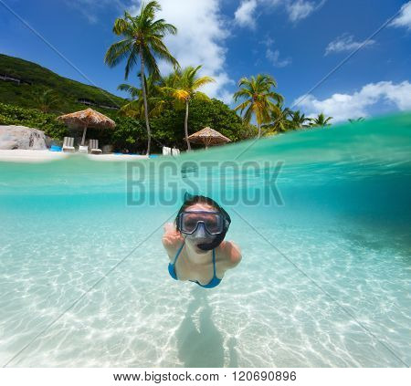 Split photo of young woman snorkeling in turquoise ocean at Caribbean
