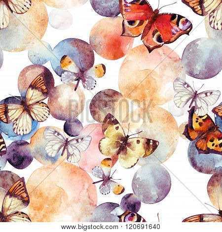 Abstract Watercolor Circles And Butterfly Seamless Pattern