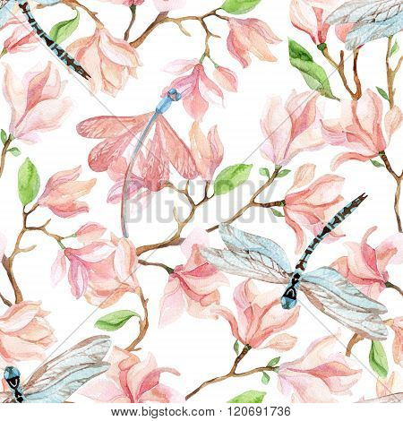 Watercolor Magnolia Branches And Dragonfly