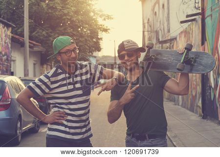 Hipster guys enjoy outdoors.