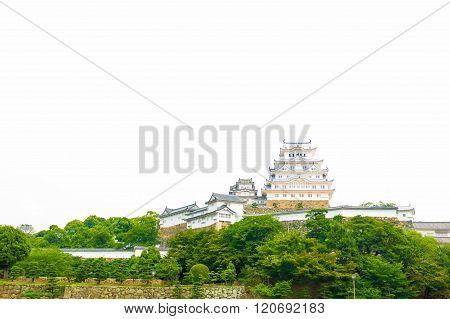Himeji Jo Castle Front Distant Far Copy Space H