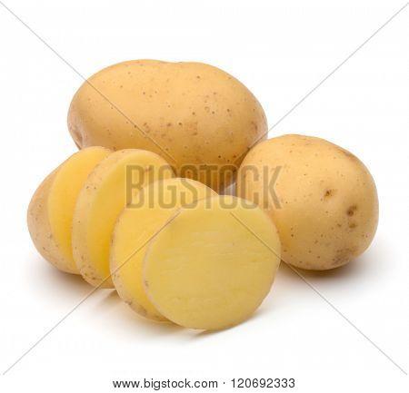 potato tuber slices  isolated on white background cutout