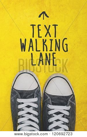 Text Walking Lane, Casual Sneakers Top View