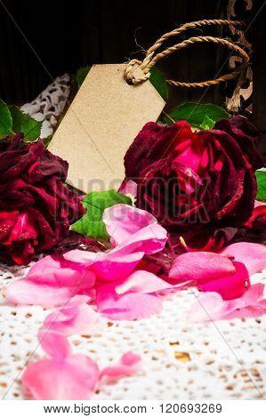 Greeting Card, Roses And Petals