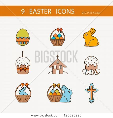 Vector collection of cute Easter icons for your card or invitation design.