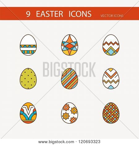 7Vector collection of cute Easter icons for your card or invitation design.