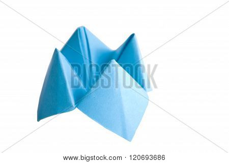 Origami made of bright blue paper
