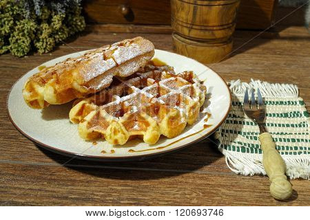 Handmade Fresh Belgian Waffles On Rural Background