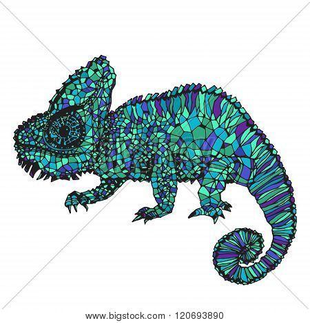 Hand-drawn chameleon illustration.