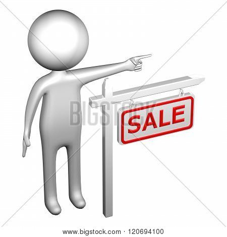 3D Man With Pillar With Sign Sale