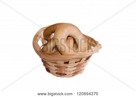 Woven basket full of bagels