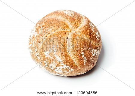 Top View Wholemeal Bread Roll, On White Background