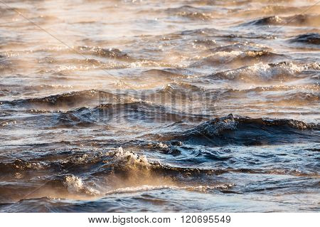Water vapor on surface of cold water