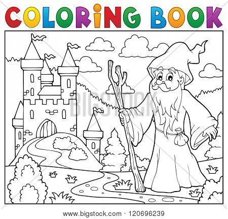 Coloring book druid near castle - eps10 vector illustration.