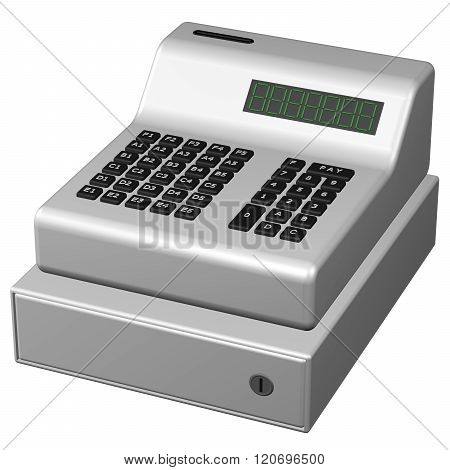 Old Pos System, Isolated On White Background.