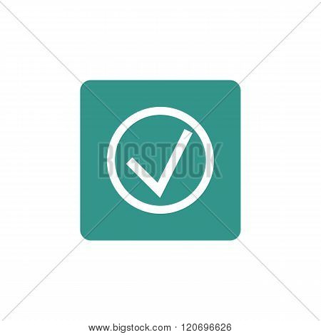 Accept Icon, On Green Rectangle Background, White Outline