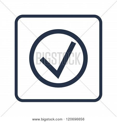 Accept Icon, On White Background, Rounded Rectangle Border, Blue Outline
