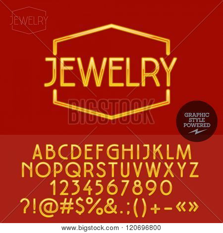Golden plastic emblem for jewellery store. Vector set of letters, numbers and symbols.