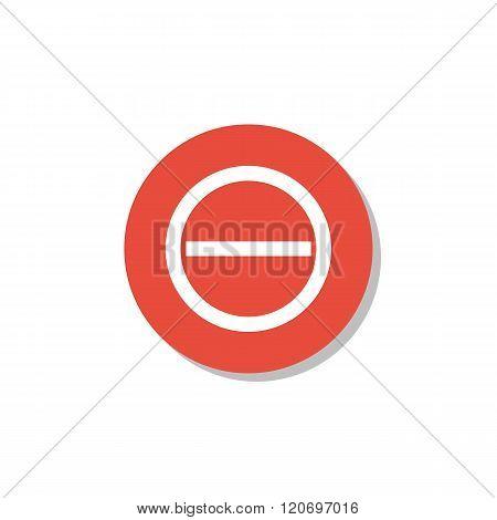 Minus Icon, On White Background, Red Circle Border, White Outline