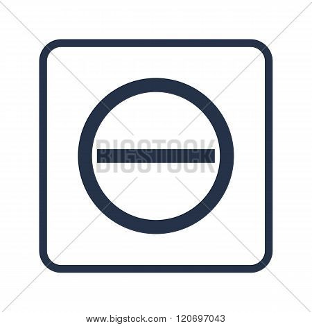 Minus Icon, On White Background, Rounded Rectangle Border, Blue Outline