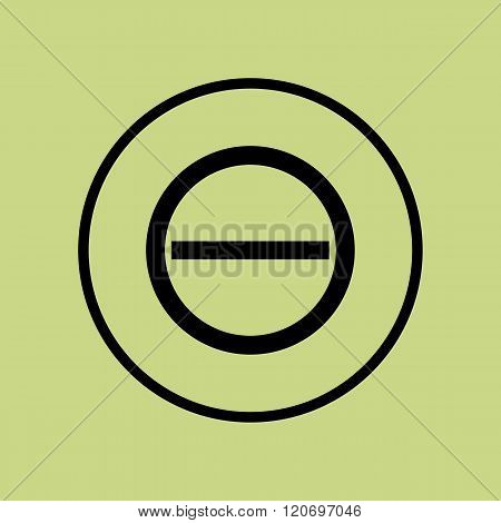 Minus Icon, On Green Background, Circle Border, Dark Outline