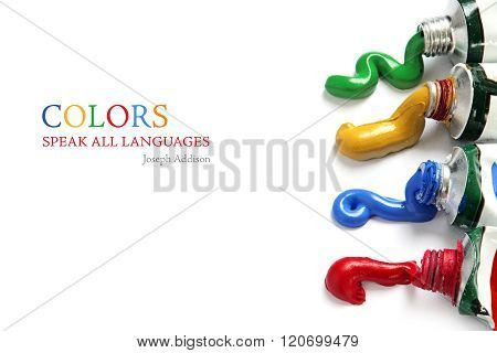 Paint Colors Flowing From The Tubes, Isolated On White, Sample Text Colors Speak All Languages