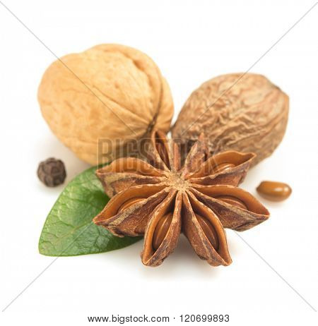 spices and herb isolated on white background