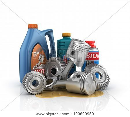 Concept Of Auto Service. Cans Of Motor Oil And Gear Oil With Gears And Engine Pistons.