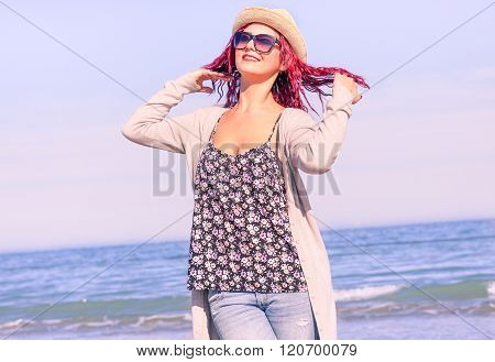 Red Hair Fashion Girl Having Fun In A Sunny Day - Hipster Young Woman Posing For Photo