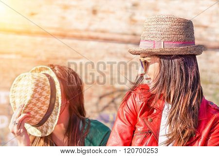 Best Hipster Friends Having Fun On Sunny Day - Happy People Joking With Fashion Hats