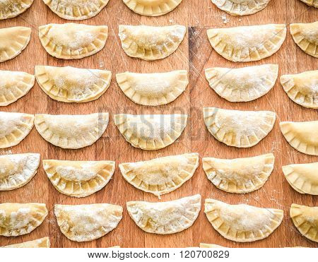 Making Of Homemade Dumplings Pastry Tortellini Or Ravioli