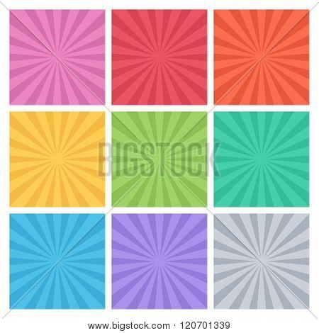 Collection of color vector rays. Set of backgrounds ray. Vector, abstract sun rays.