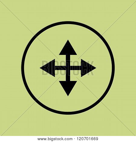 Arrow Icon, On Green Background, Circle Border, Dark Outline