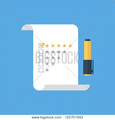 Five star rating checklist with felt tip pen on flat style. Five star rating checklist icon.