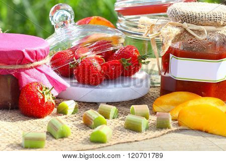 Jam and fruits