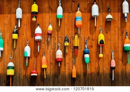 Wall of Colorful Lobster Buoys