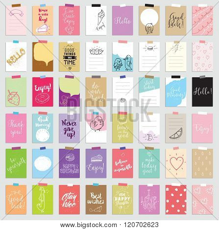 Set of 48 creative journaling cards. Vector illustration. Template for greeting scrapbooking, planne