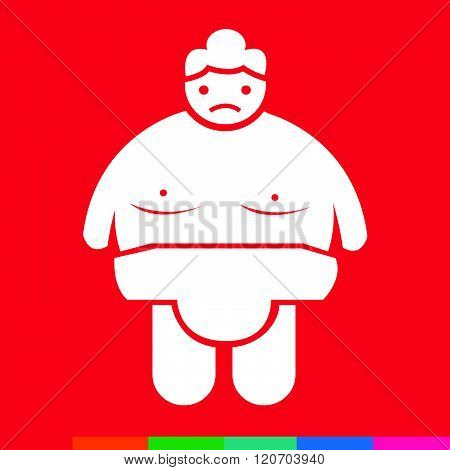 an images of Sumo wrestling People Icon Illustration design white and red