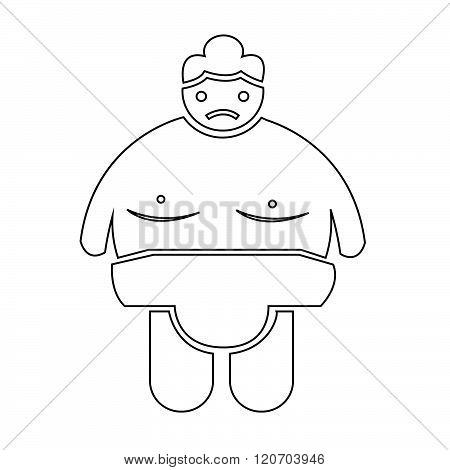 an images of Sumo wrestling People Icon Illustration design white