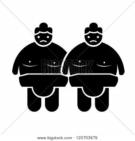 an images of two  Sumo wrestling People Icon Illustration design