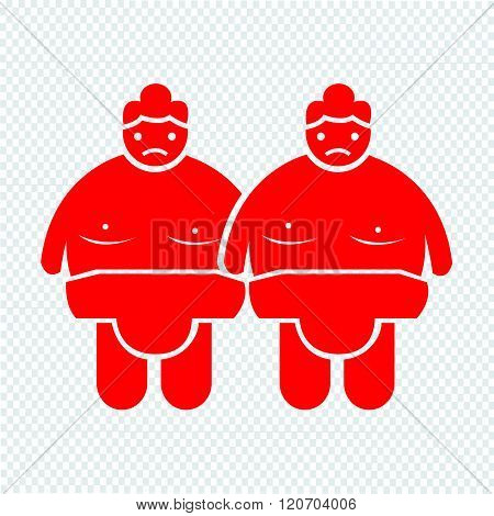 an images of 2 red Sumo wrestling People Icon Illustration design