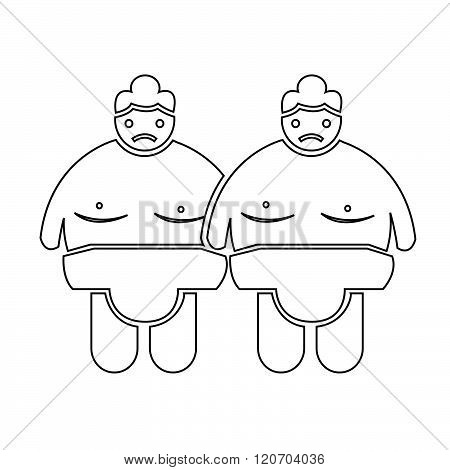 an images of 2 Sumo wrestling People Icon Illustration design